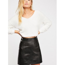 Free people retro vegan mini skirt