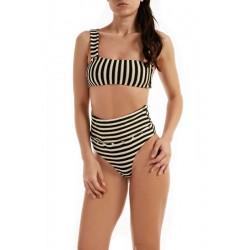 Bikini Bandeau un hombro rayas FK