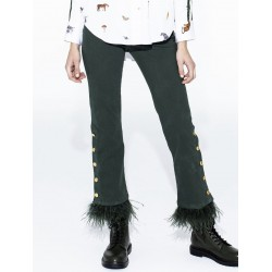 Pantalón verde plumas