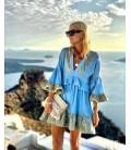 Vestido azul mamgas